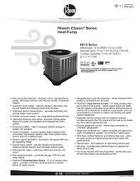 Rheem Rp15 Specification Sheet Manualzz Com