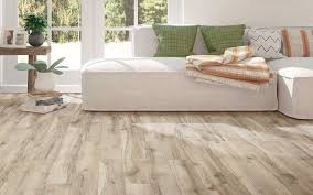 vinyl flooring in a lighter color makes this living room look more spacious