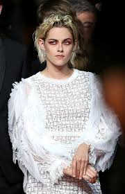 kristen stewart showed off bright red eye shadow at cannes