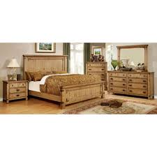 Pine Furniture Bedroom Furniture Of America Pioneer Bedroom Set In Burnished Pine Finish