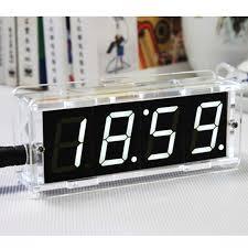 2016 new diy kit digital electronic microcontroller alarm clock settings acrylic led mini desks clock large screen display time in desk table clocks from