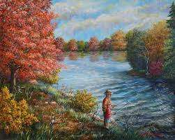 teaching the young to fish fishing with grandpa acrylic painting depicts a grandfather teaching