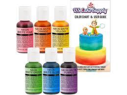 Us Cake Supply By Chefmaster Airbrush Cake Neon Color Set In 0 7 Fl Oz Bottles Newegg Com