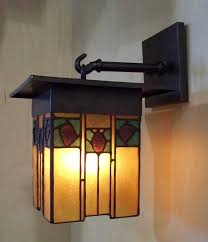 arts and crafts style lantern with hammered copper and mica
