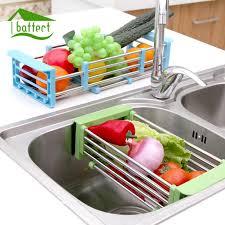 best telescopic kitchen sink dish rack insert countertop storage organizer tray stainless steel fruits vegetables draining rack under 31 24 dhgate com