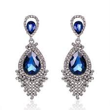 long diamante rhinestone crystal drop dangle chandelier earrings