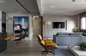 Apartments are located in Brazil featuring many elegant dark, we did not  expect if it actually this is attic apartment that has been renovated.