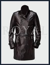 mens black long leather jacket