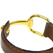 gucci horsebit gold cognac brown lizard leather men s women s cuff bracelet in good condition for