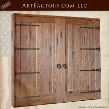 solid wood barn garage doors custom hand forged iron hardware 8425st