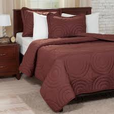 lavish home embossed chocolate polyester full queen quilt