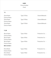 Actor Resume Template Classy Voice Over Resume Template Actor Resume Format Free Acting Resume