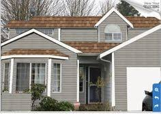 exterior paint colors with brown roof. grey house - brown roof perfect match! like the lightness of exterior paint colors with b