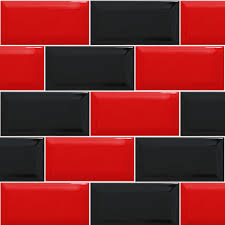 Red And Black Kitchen Red Black Tiled Effect Kitchen Splashback Panels Enhance Your
