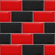 Red And Black Kitchen Red Black Tiled Effect Kitchen Splashback Panels Enhance Your