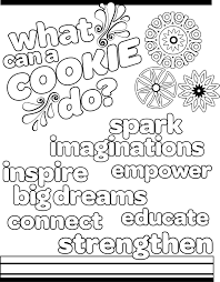 Small Picture Brownie Girl Scouts Selling Cookies Coloring Page Throughout