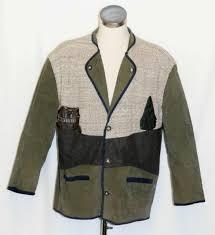 leather wool coat jacket green men loden german hunting western sport c51 xl