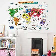 kids world map wall stickers boys