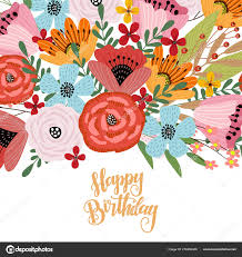 Happy Birthday Postcard Template With Cute Hand Drawing