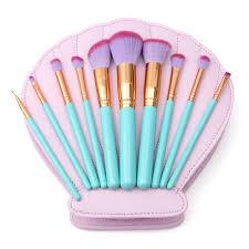 10pcs makeup brushes set s bag eyeliner eyeshadow angle shading highlight eyebrow flat brush