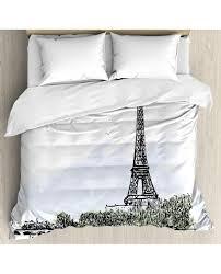 paris duvet cover set eiffel tower birds trees with pillow sham s