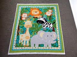 Jungle animal fabric panel. Nursery cot panel. Baby quilt & Description. JUNGLE PANEL Adamdwight.com