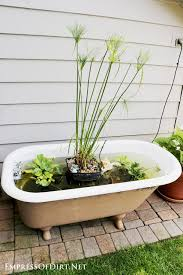 how to make a garden pond in an old bathtub