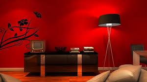 beautiful red paint wall design ideas black high gloss wood credenza black tripod floor lamp black