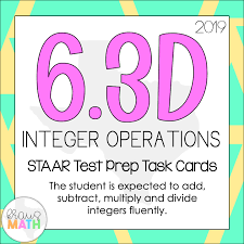 6 3d integer operations staar test prep teks task cards
