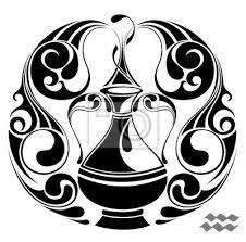 Plakát Vodnář Zvěrokruh Vektor Signtattoo Designu