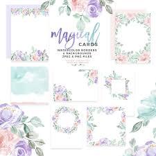 Watercolor Floral Card Border Png Background Vintage Purple Pink Table Number Wedding Invitation Signs