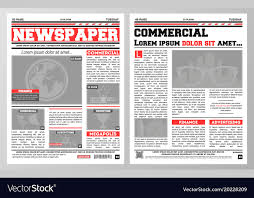 Newspaper Template Royalty Free Vector Image Vectorstock