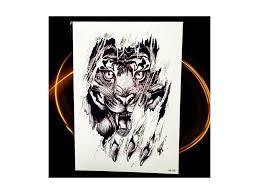 Voděodolné Dočasné Tetování Motiv Tygr černá