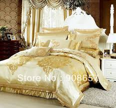 gold luxurious pattern bedding set 10 pcs queen bed in a bag set quilted sheet jacquard