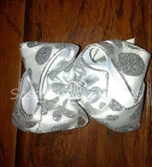 Sassy Sweet Designs Ssd Custom Silver Glitter Dot Sparkle Boutique Hairbow Hair