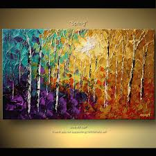 original abstract tree painting thick texture