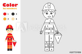 Kids love coloring, and whether they are 3 or 13 and they are always looking for coloring pages to print. Fireman In Cartoon Style Color By Number Education Paper Game For The Development Of Children Coloring Page Kids Preschool Activity Printable Worksheet Vector Illustration Buy This Stock Vector And Explore Similar