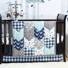woodland trail 3 piece baby boy crib bedding set patchwork forest animal theme by the peanut shell com