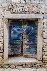 old door wit original new blue painting croatia bale stock photo 83221337