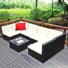 pc patio sectional furniture pe wicker rattan