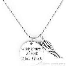 whole fashion hot ing engraved letters with brave wings she flies pendant alloy necklace jewelrys gift pendant necklaces diamond pendant from