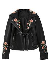 united kingdom women moto jacket black long sleeve embroidered pu leather jacket