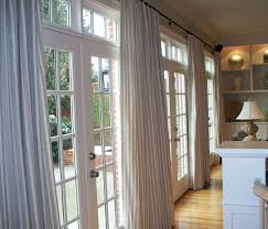 Home Decor, Large French Doors Paired With White Striped Curtains Window  Treatments Set Beside Wall