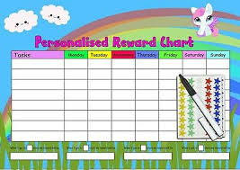 Unicorn Star Chart Kids Reward Chart A3 Personalised Unicorn Velcro Stars Top