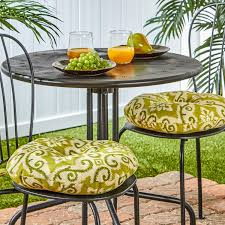 round indoor outdoor bistro chair cushion 15 inch sham set of 2 uv resistant outdoor fabrics 100 polyester by greendale home fashions from usa