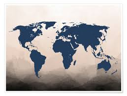 World Map Posters Premium Poster World Map Navy