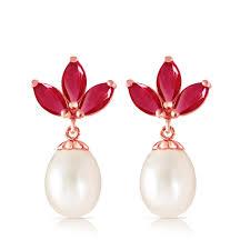 Perlen Rubin Blütenblatt Tropfen Kronleuchter Ohrringe Roségold 375