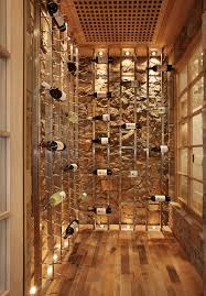 wine room lighting. Oak Wine Cubes With Up Lighting Cellar Beach Style And Natural Finish  Racks Room