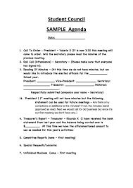 Sample Of Agenda Student Council Sample Agenda Printable Pdf Download