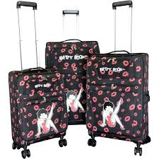 betty boop bed set black 3 piece expandable spinner luggage set betty boop bed